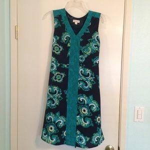 Merona navy v-neck tie waist sleeveless dress